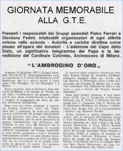 Ambrogino d'Oro alla GTE - 1973